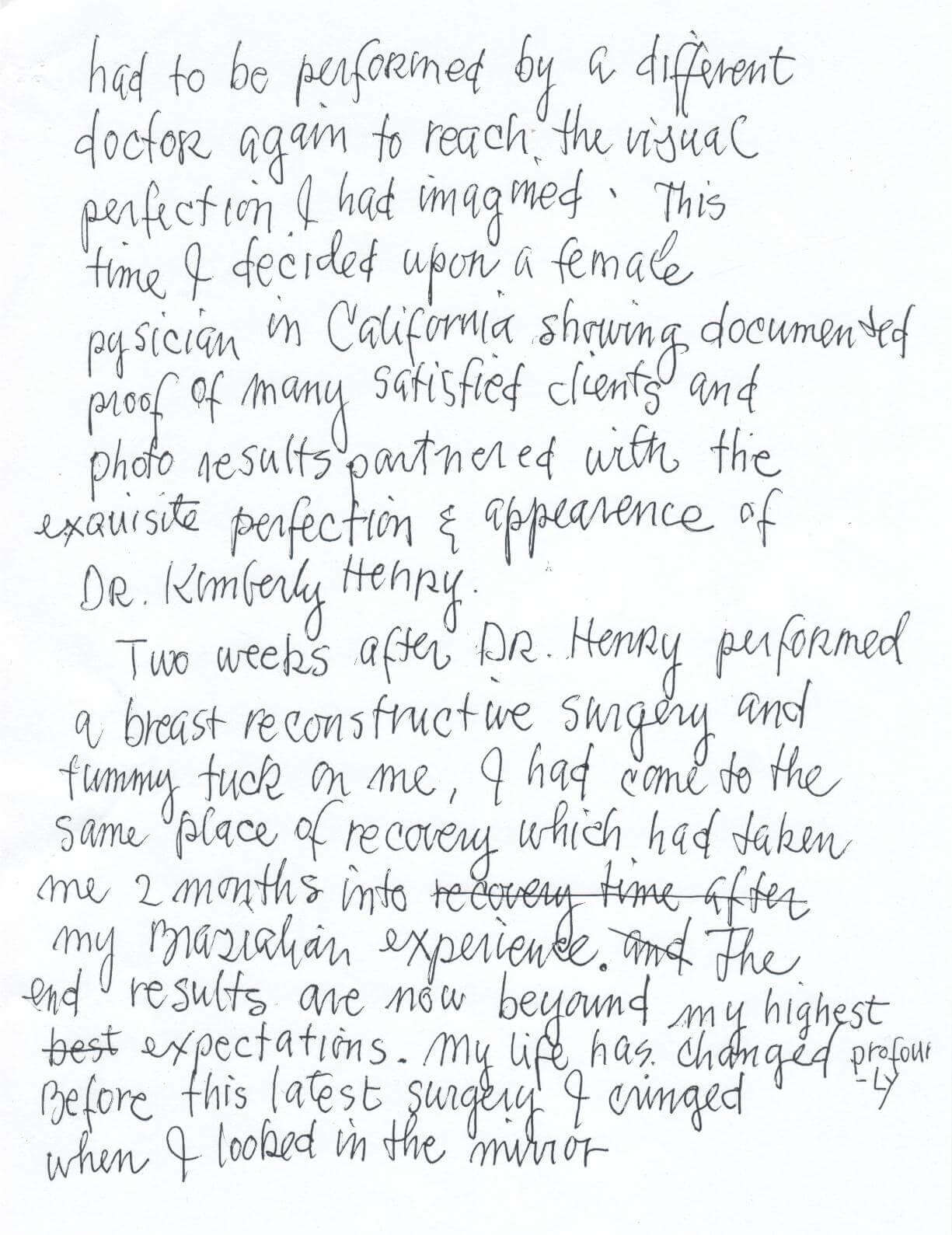 hand written letter to dr