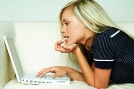woman starring at computer