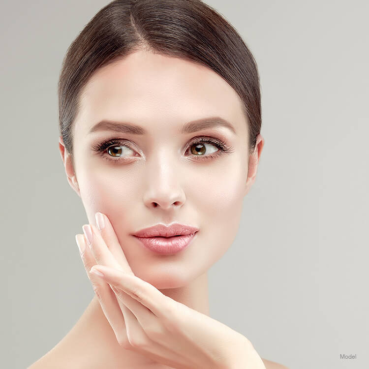 Model after a facial injectable